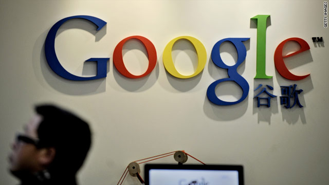A man walks past the Google Chinese logo at the company's office in Shanghai, China